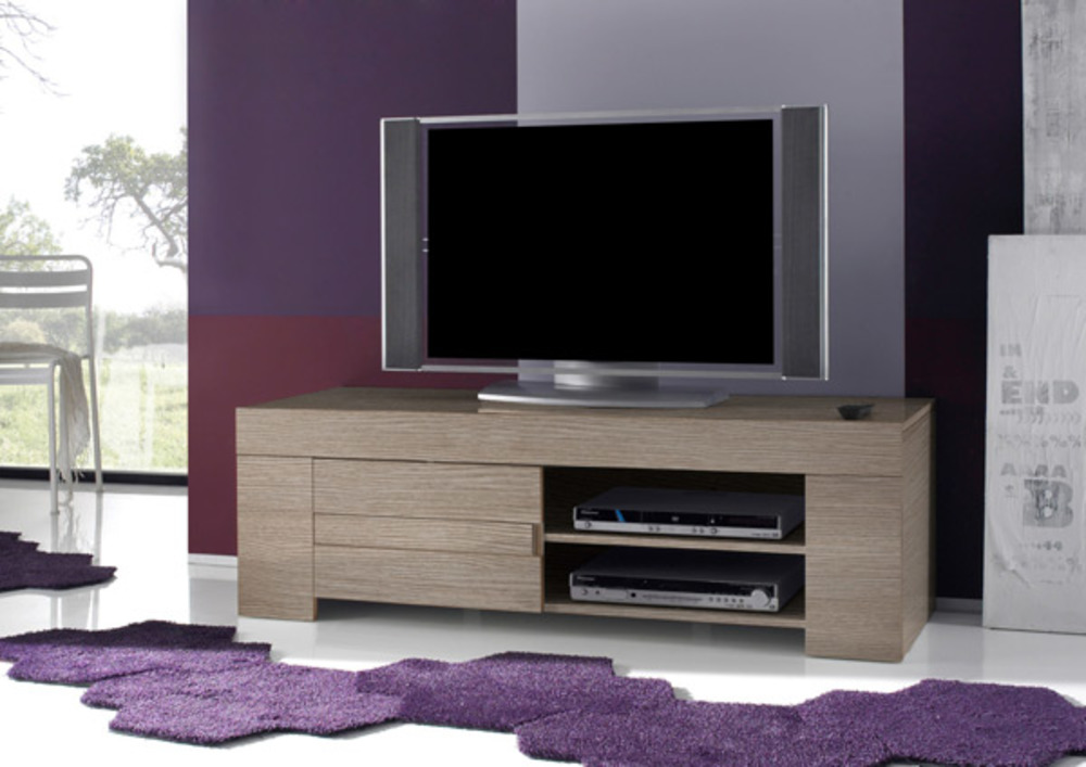 meuble tv messina chene gris. Black Bedroom Furniture Sets. Home Design Ideas