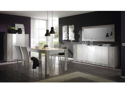 table de repas soon pin blanchi blanc laque. Black Bedroom Furniture Sets. Home Design Ideas