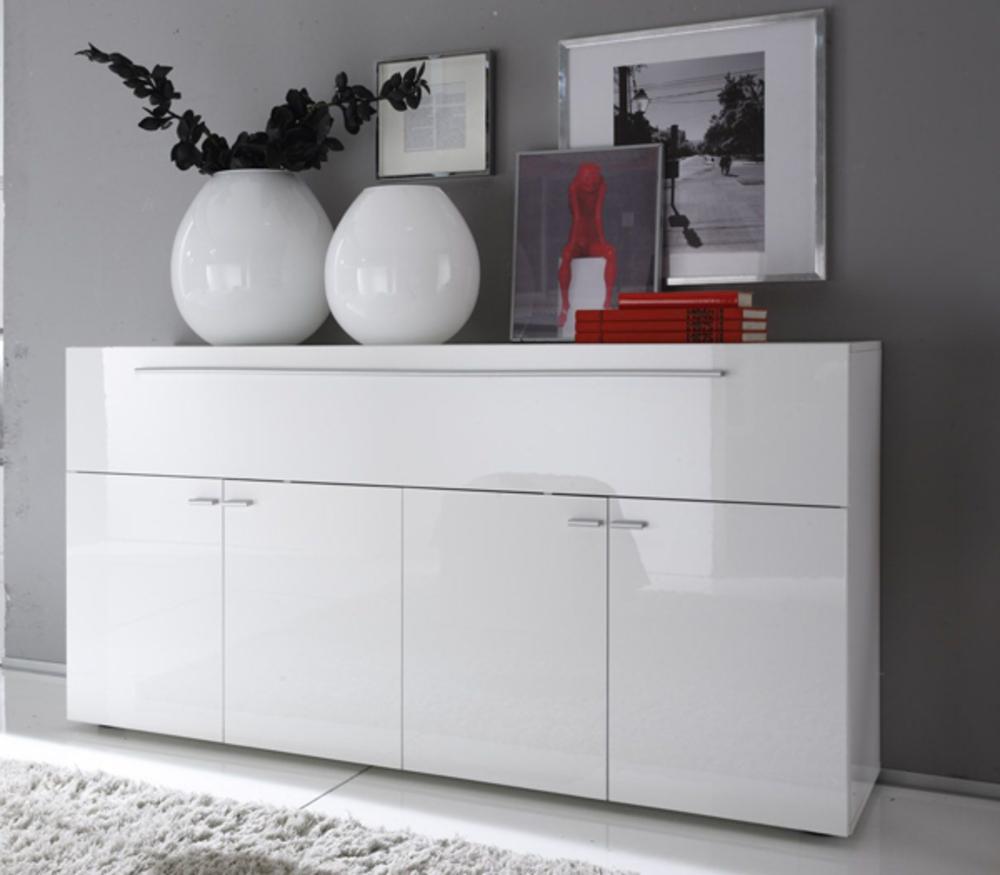 Bahut 5 Portes Mallorca Blanc Brillant # Modeles De Buffet Bas Blanc Laque Design