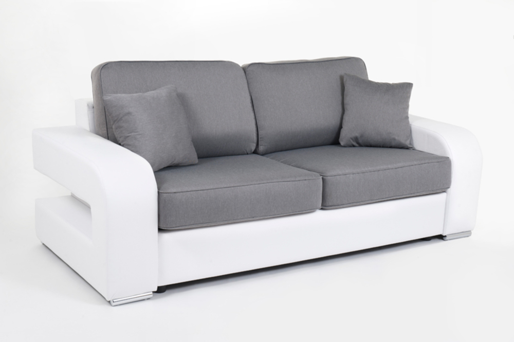 Canape convertible couchage 140 cm alban wilma blanc for Canape convertible 140 cm