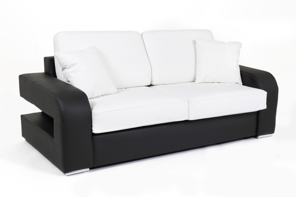 Canape convertible couchage 140 cm alban wilma noir for Canape convertible 140 cm