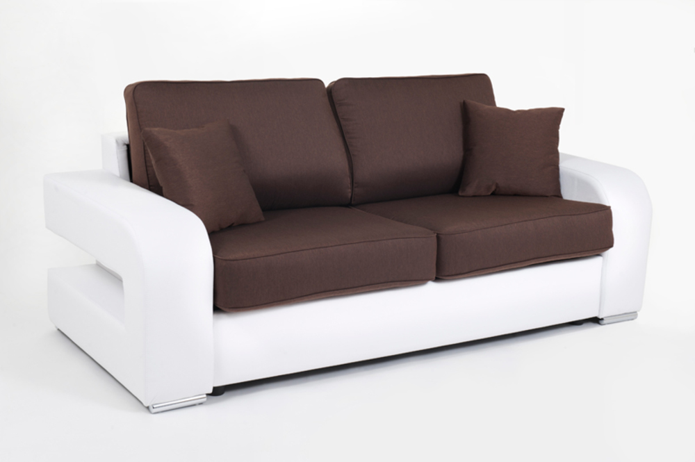 Canape convertible couchage 140 cm alban wilma blanc for Canape convertible couchage 140