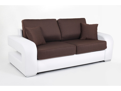 canape convertible couchage 140 cm alban wilma blanc jeans 108. Black Bedroom Furniture Sets. Home Design Ideas