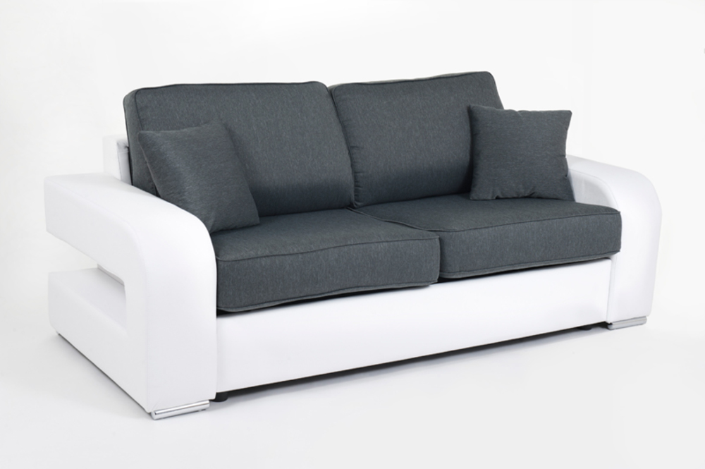 canape convertible couchage 140 cm alban wilma blanc jeans 109. Black Bedroom Furniture Sets. Home Design Ideas