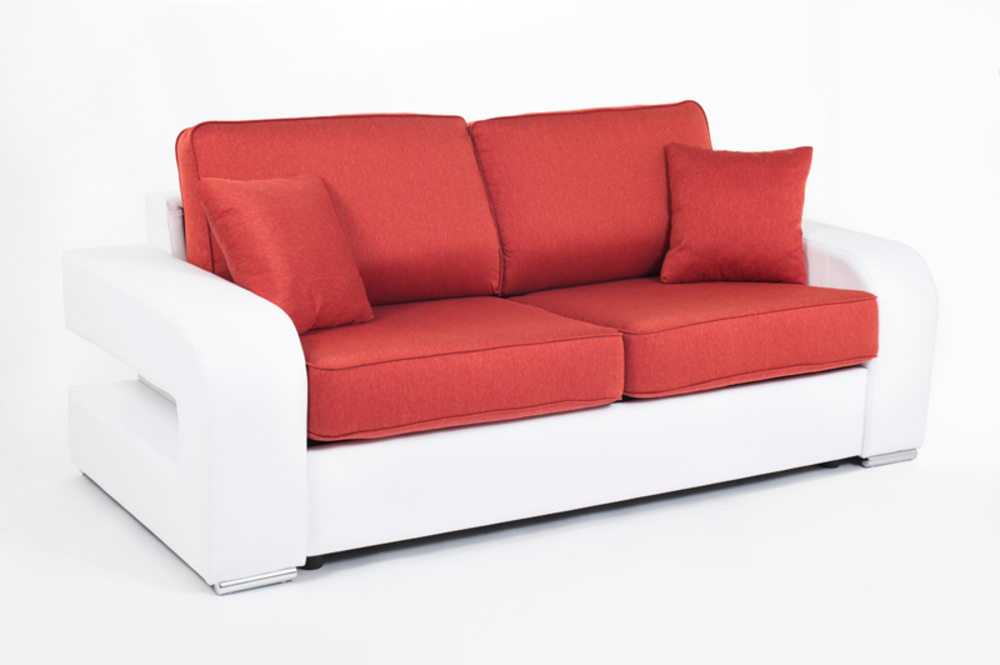 Canape convertible couchage 140 cm alban wilma blanc for Canape convertible 180 cm