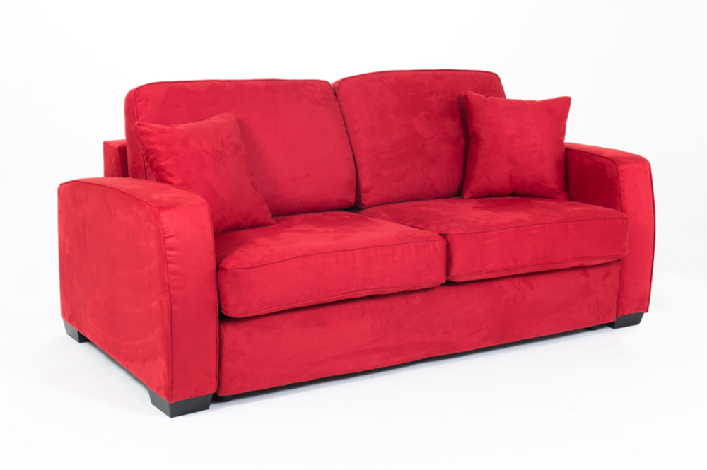 Canape convertible couchage 140 cm ellipse micro rouge 23 for Canape convertible 140 cm