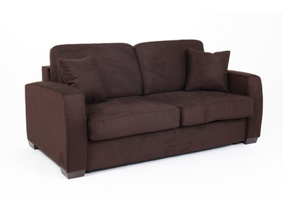 canape convertible couchage 140 cm ellipse micro chocolat 60. Black Bedroom Furniture Sets. Home Design Ideas