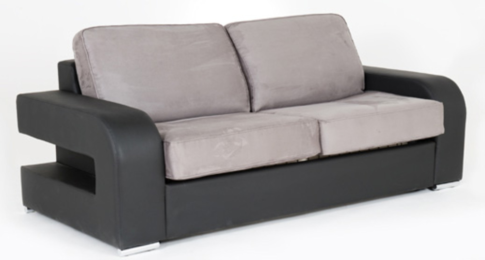 Canape convertible couchage 140 cm alban wilma noir micro 23 for Canape convertible couchage 140