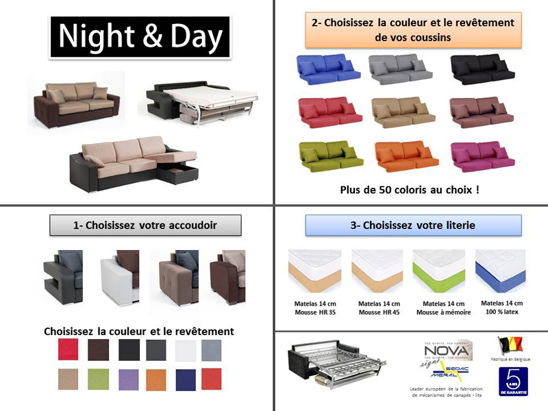 Canape Convertible Couchage Cm Alban Wilma Noir Micro - Canape convertible couleur