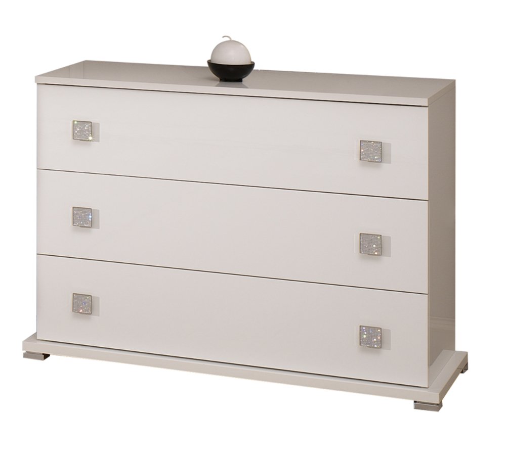 Commode tess chambre a coucher blanc brillant for Commode chambre but