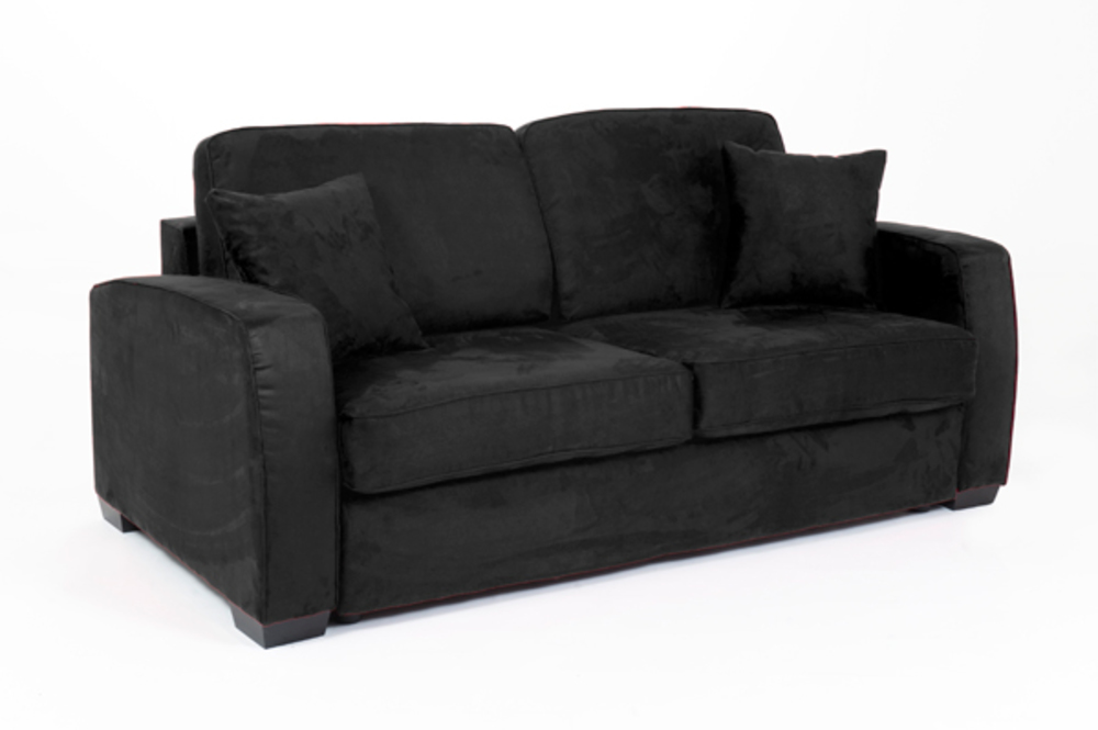 canape convertible couchage 140 cm ellipse micro noire 15. Black Bedroom Furniture Sets. Home Design Ideas