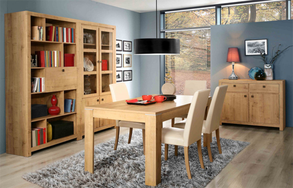 table de repas indigo salle a manger chene. Black Bedroom Furniture Sets. Home Design Ideas