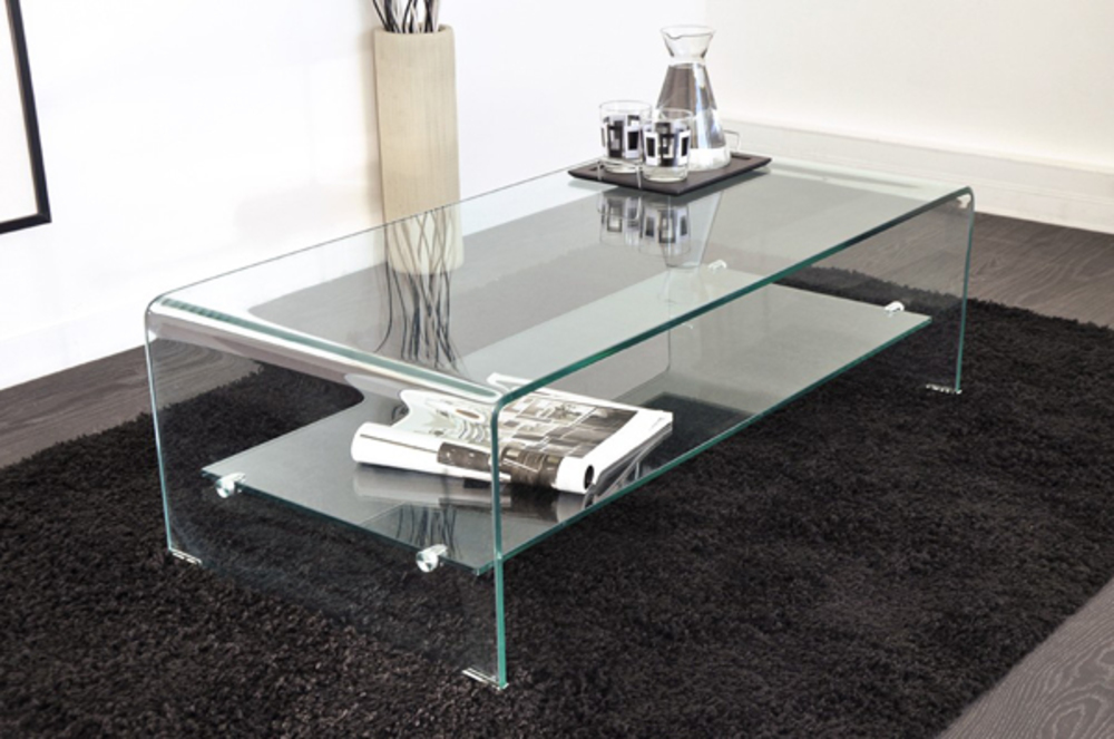 Table basse vera 2 translucide for Nettoyer table en verre