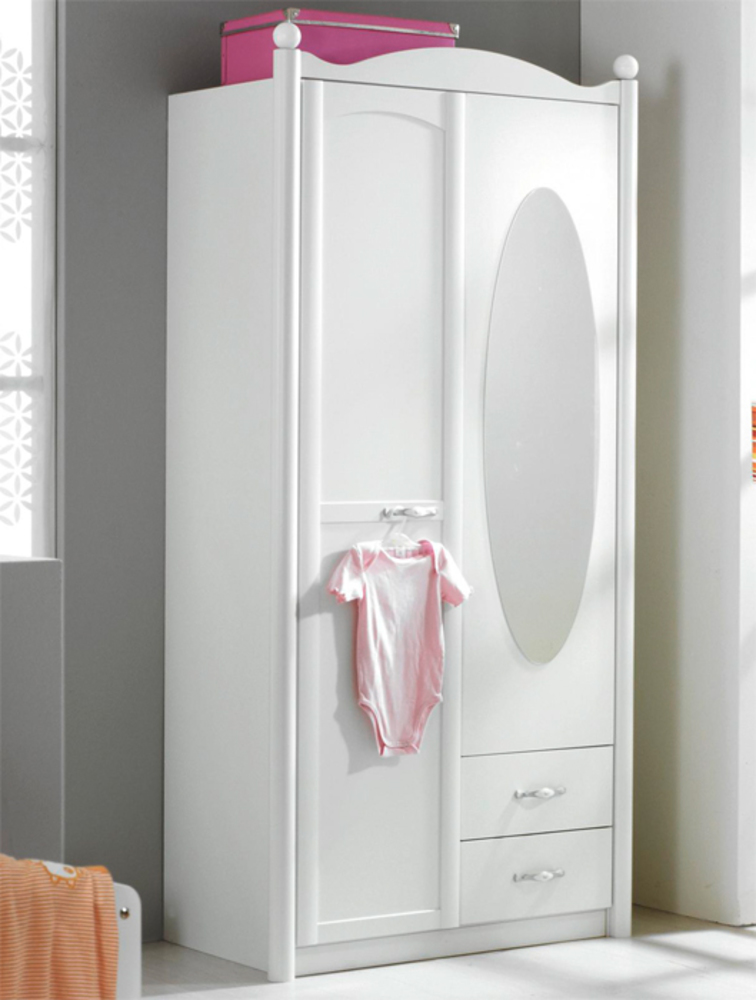 armoire 2 portes lilly blanc neige. Black Bedroom Furniture Sets. Home Design Ideas