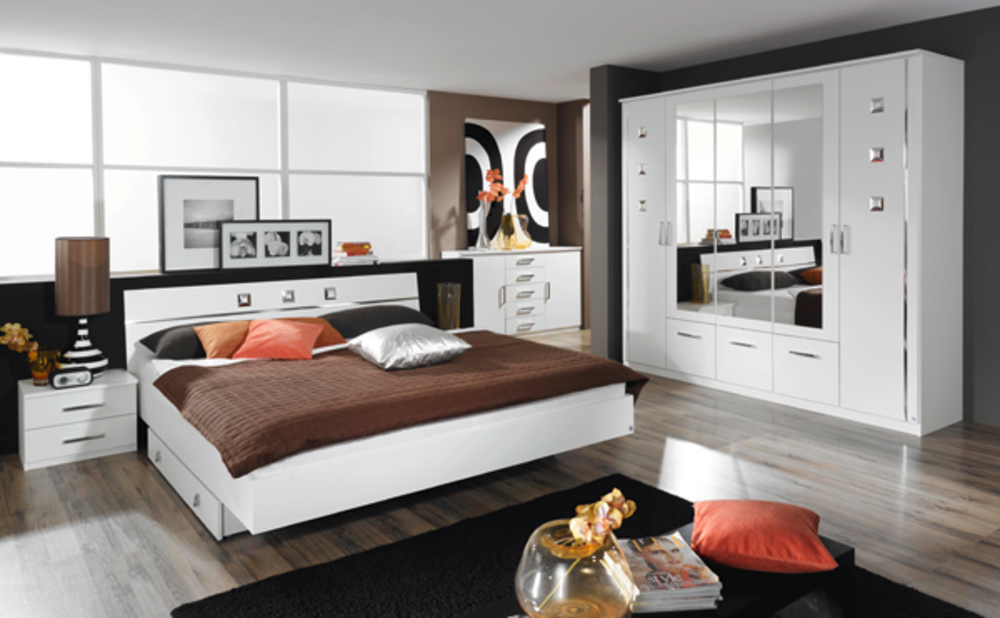 lit 2 chevets maggia blancl 264 x h 82 x p 213. Black Bedroom Furniture Sets. Home Design Ideas