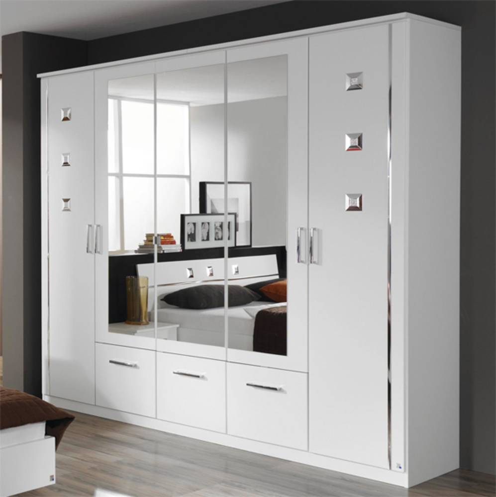 armoire 5 portes et 3 tiroirs maggia blanc blanc. Black Bedroom Furniture Sets. Home Design Ideas