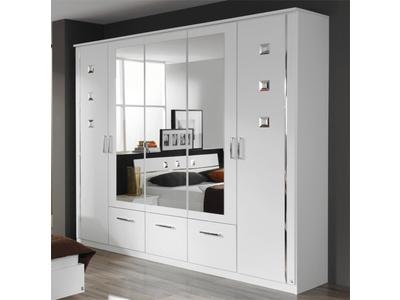 Armoire 5 portes et 3 tiroirs Maggia blanc