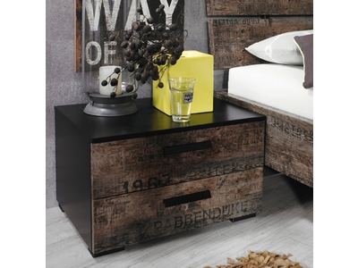 chambre coucher compl te style vintage sumatra marron et noir. Black Bedroom Furniture Sets. Home Design Ideas