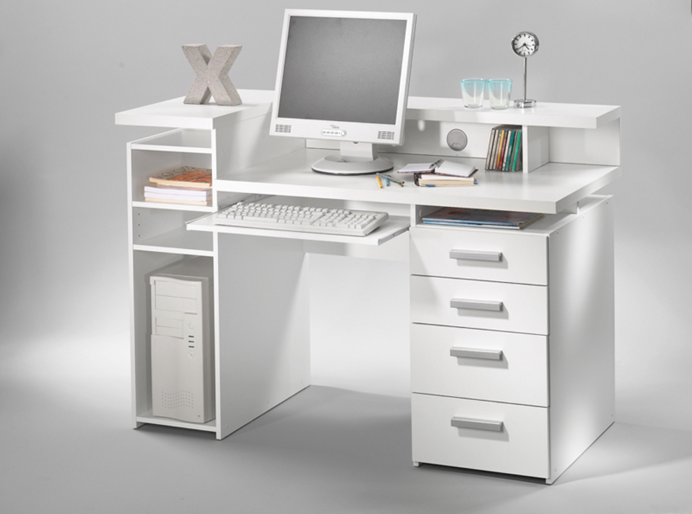 Bureau franzisca blanc for Meuble pc