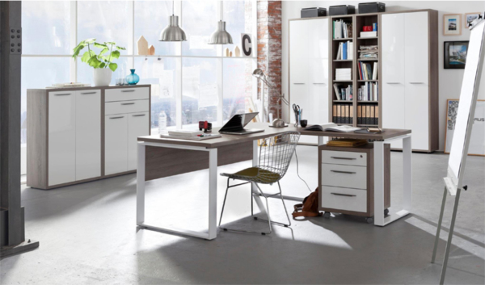 Bureau 140 ufficio chene sonoma fonce blanc for Meuble a tiroir sous bureau