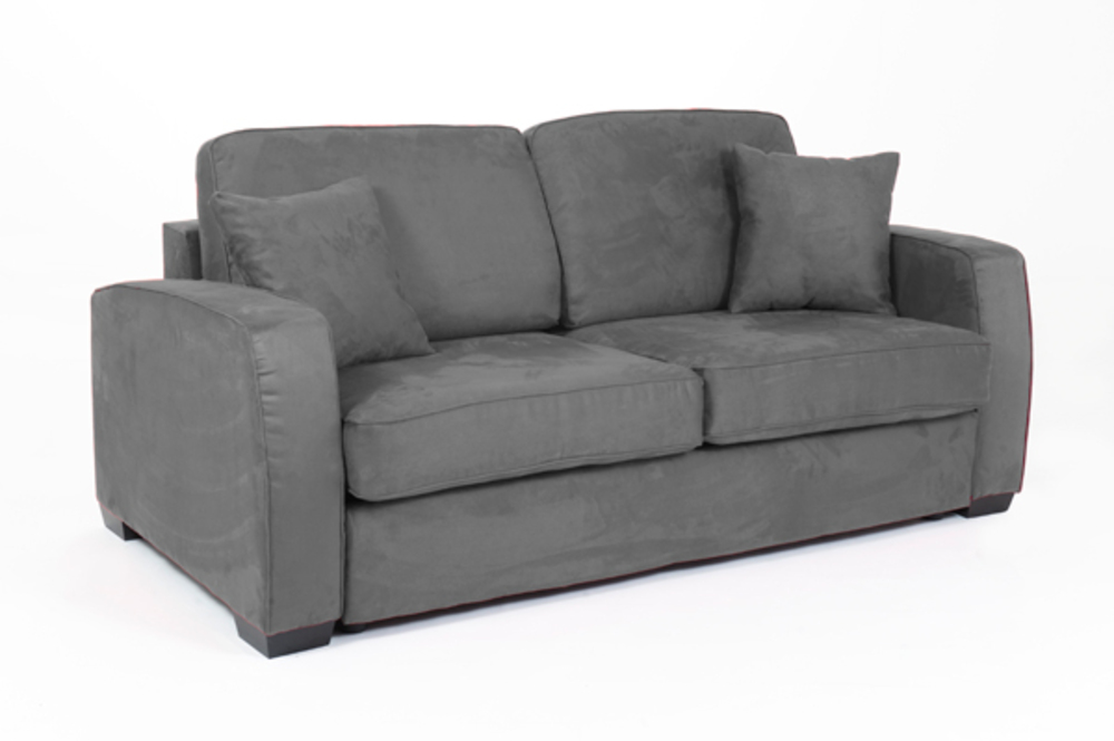 Canape convertible couchage 160 cm ellipse micro grise 82 for Canape 160 cm convertible