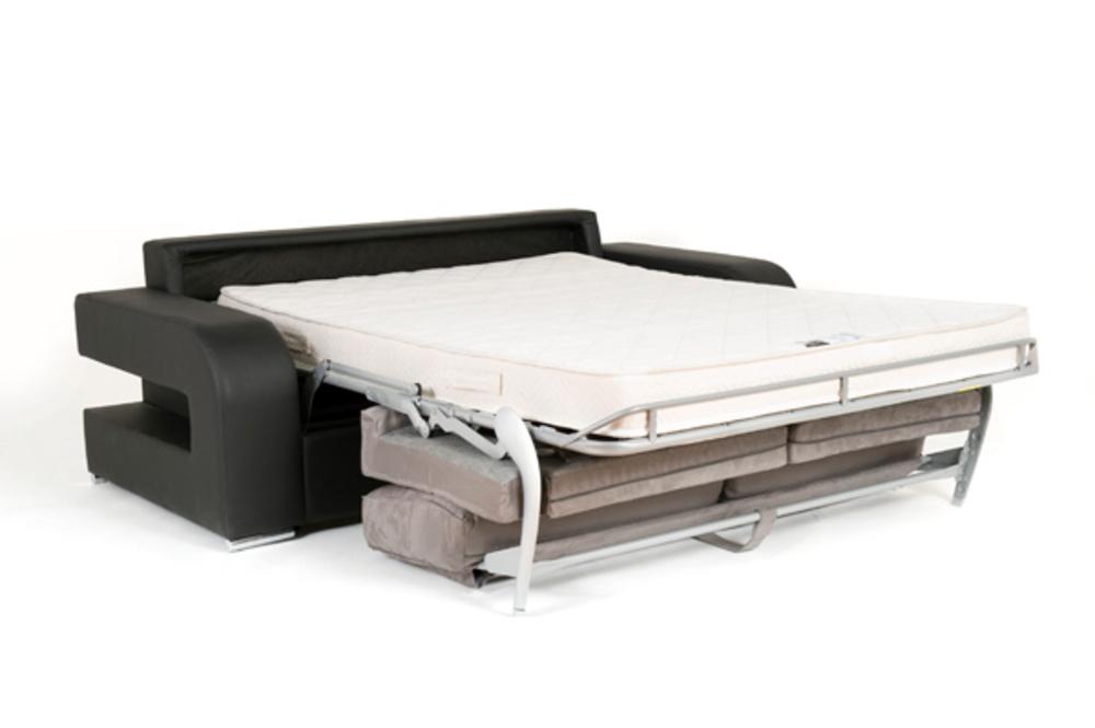 Canape Convertible Couchage 160 Cm Ellipse Micro Noire 15