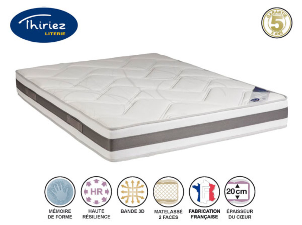 matelas mousse memoire memo magnifique thiriez l 140 x h 22 x p 190. Black Bedroom Furniture Sets. Home Design Ideas