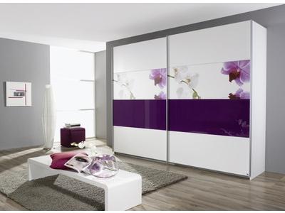 armoire 2 portes soluno impression orchidee l 181 x h 210 x p 62. Black Bedroom Furniture Sets. Home Design Ideas
