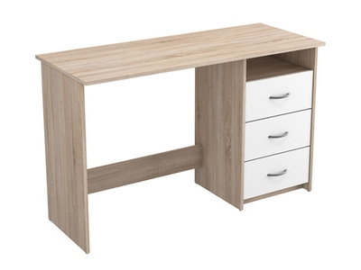 bureau d 39 angle reversible pratico beton blanc brillant. Black Bedroom Furniture Sets. Home Design Ideas