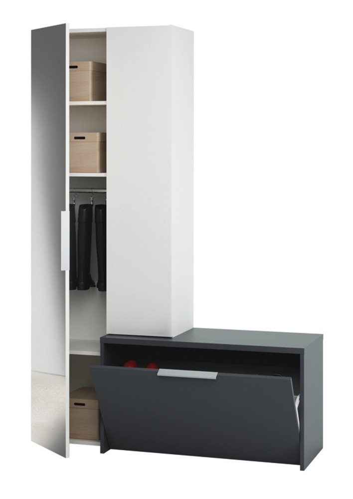 vestiaire tiroir avec abattant madrid blanc gris. Black Bedroom Furniture Sets. Home Design Ideas