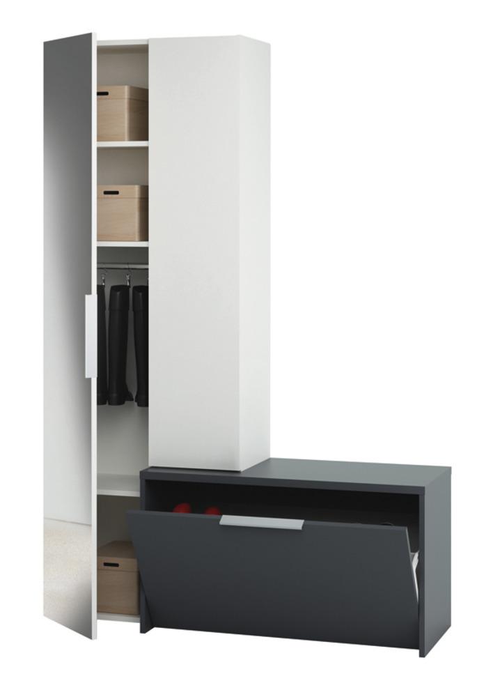 Vestiaire tiroir avec abattant madrid blanc gris for Meuble haut avec tiroir