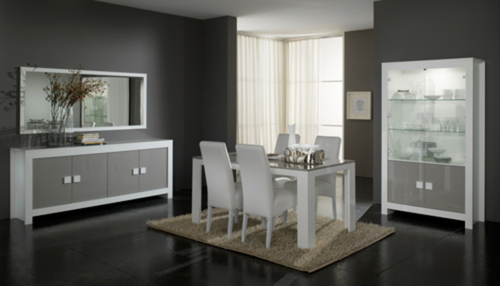 Salle a manger complete 7 pieces Pisa laquée bicolore blanc / gris