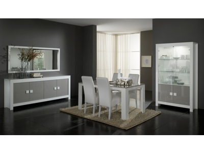 Salle a manger complete 7 pieces Pisa laquee bicolore  blanc / gris