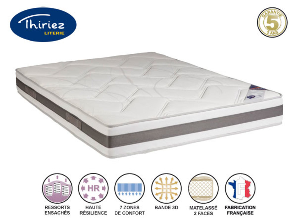 matelas ressorts ensaches springto genereux thiriez l 180 x h 23 x p 200. Black Bedroom Furniture Sets. Home Design Ideas
