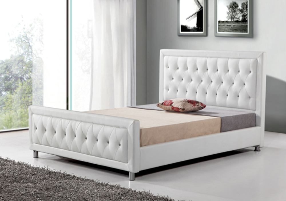 Lit prestige blanc l 152 x h 111 x p 210 for Meubles lits adultes
