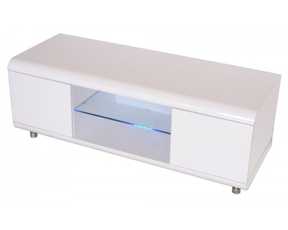 Meuble tv joker blanc brillant for Meuble hifi blanc
