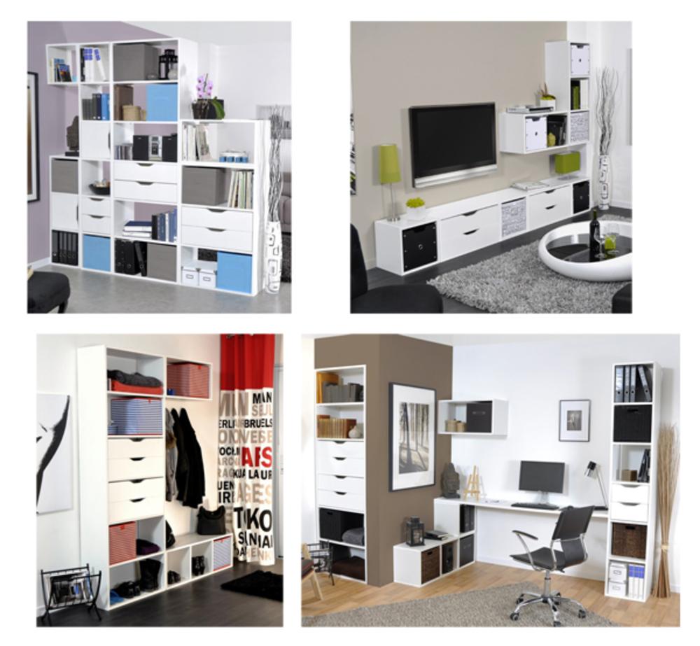 Jeu de 2 tiroirs petit modele rubyx blanc for Petit bureau multimedia