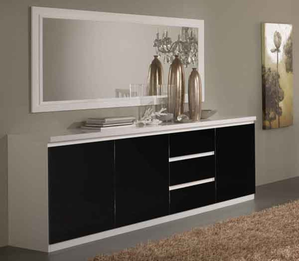 bahut 3 portes 3 tiroirs firenze blanc noir blanc noir. Black Bedroom Furniture Sets. Home Design Ideas