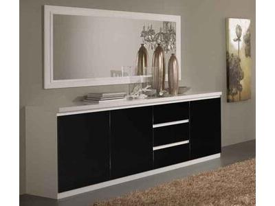 Bahut 3 portes 3 tiroirs Roma laqué blanc