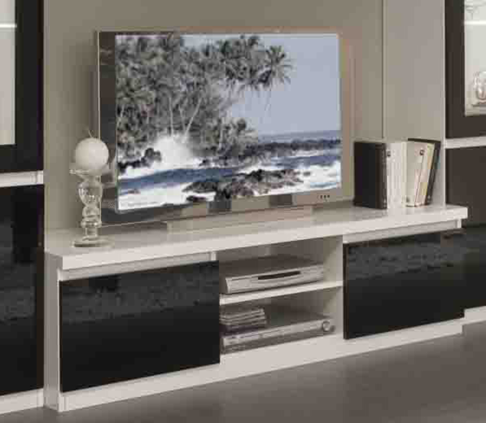 Meuble tv plasma firenze blanc noir for Meuble tele blanc