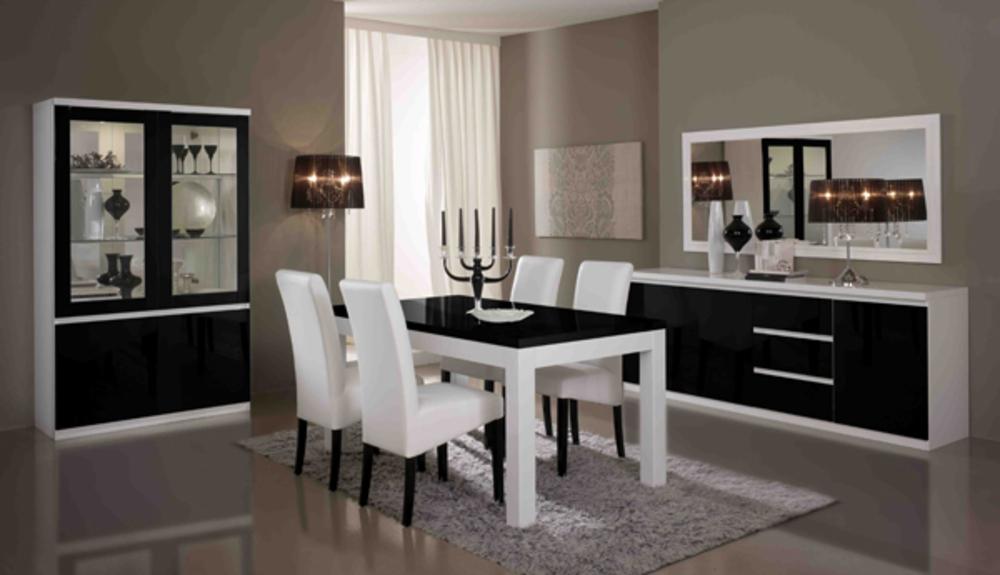 Meuble tv plasma firenze blanc noir for Table de salle a manger wenge et verre
