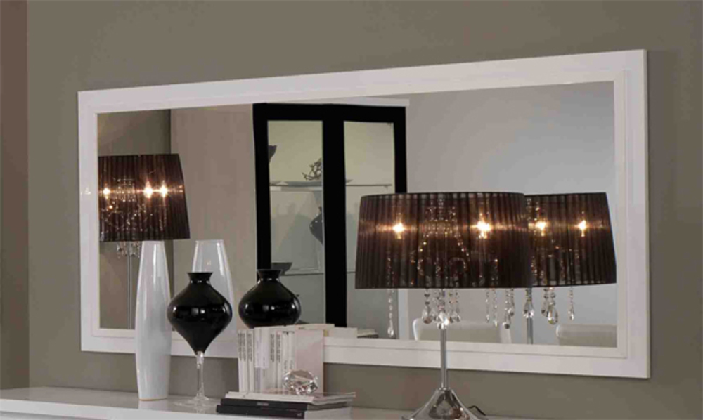 Miroir firenze blanc noir blanc l 140 x h 85 for Miroir sejour