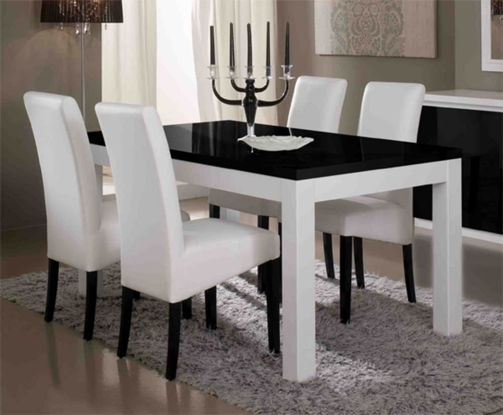 Table de repas firenze blanc noirl 190 x h 76 x p 90 for Table cuisine blanche