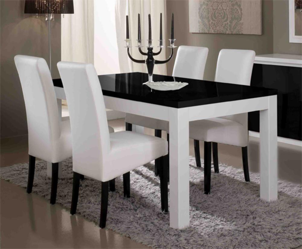 Table de repas firenze blanc noirl 190 x h 76 x p 90 - Sejour noir et blanc ...