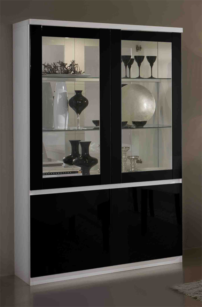 vitrine 2 portes firenze blanc noir. Black Bedroom Furniture Sets. Home Design Ideas