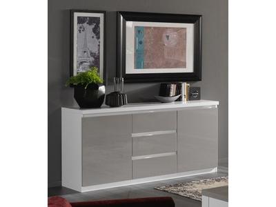 Bahut 2 portes 3 tiroirs Roma laqué bicolore blanc/gris