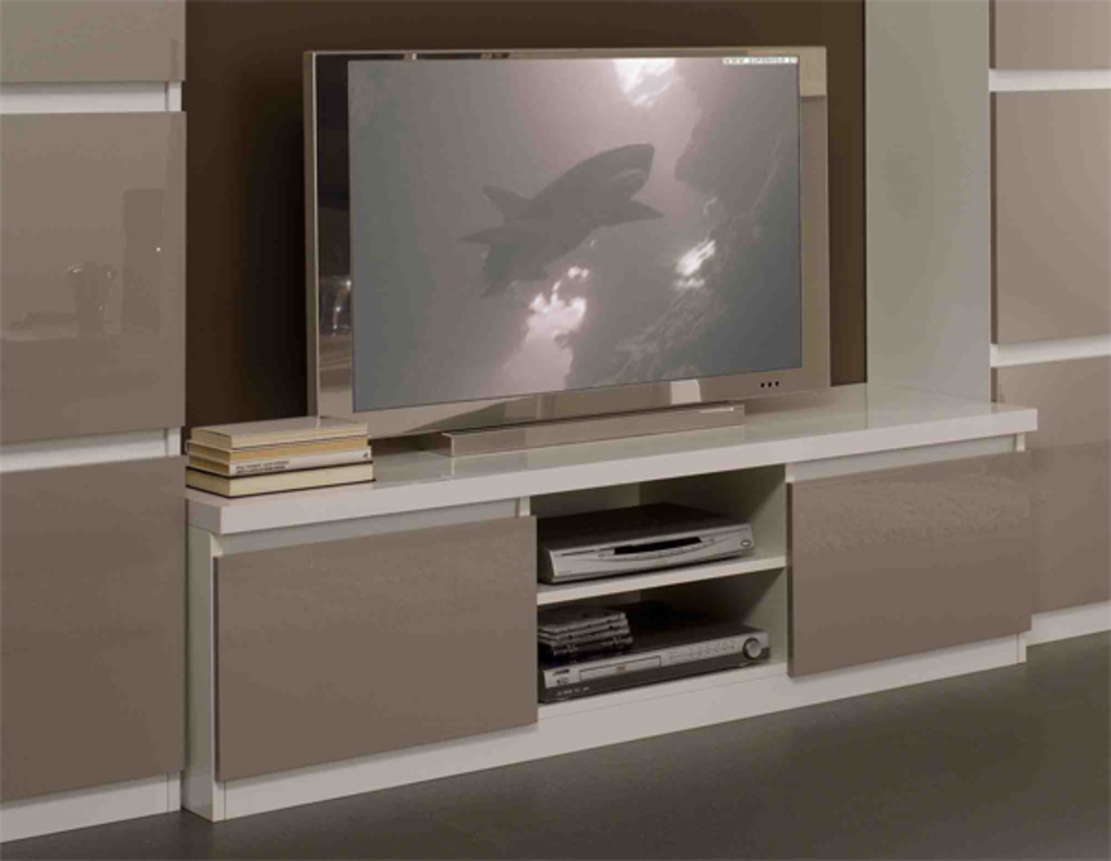 Meuble tv plasma roma laqu bicolore blanc gris for Meuble tv laque