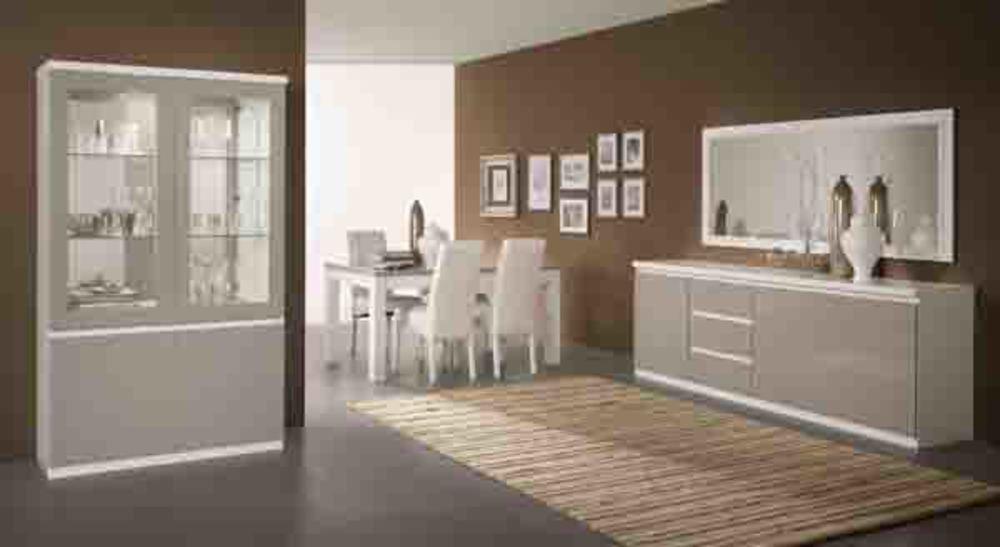 Meuble tv plasma roma laqu bicolore blanc gris for Meuble sejour laque blanc