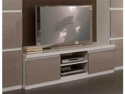 S jour italien moderne bicolore laqu blanc et gris roma - Amenagement meuble tv ...
