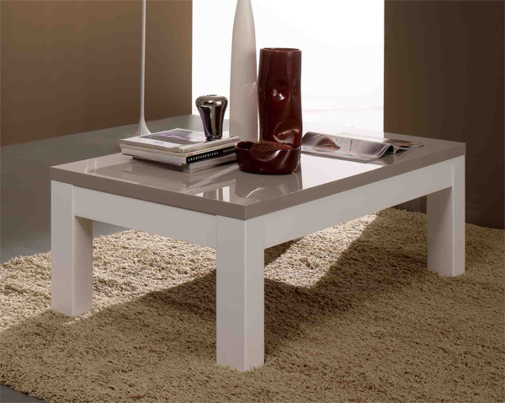 Table basse moderne rectangulaire for Table salon laque blanc